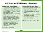 qat uses for mfi manager examples