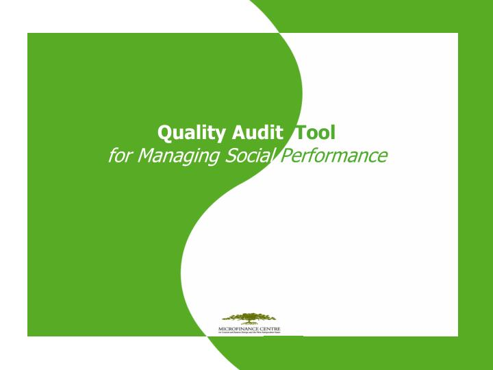 quality audit tool for managing social performance n.