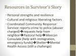 resources in survivor s story