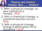 physical and chemical changes quiz answers