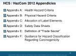 hcs hazcom 2012 appendicies