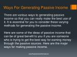 ways for generating passive income