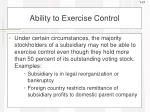 ability to exercise control