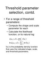 threshold parameter selection contd