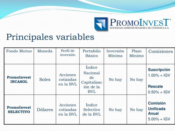 Principales variables