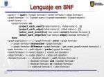 lenguaje en bnf