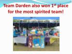 team darden also won 1 st place for the most spirited team