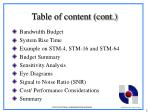 table of content cont
