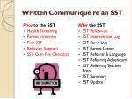 written communiqu re an sst