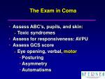 the exam in coma