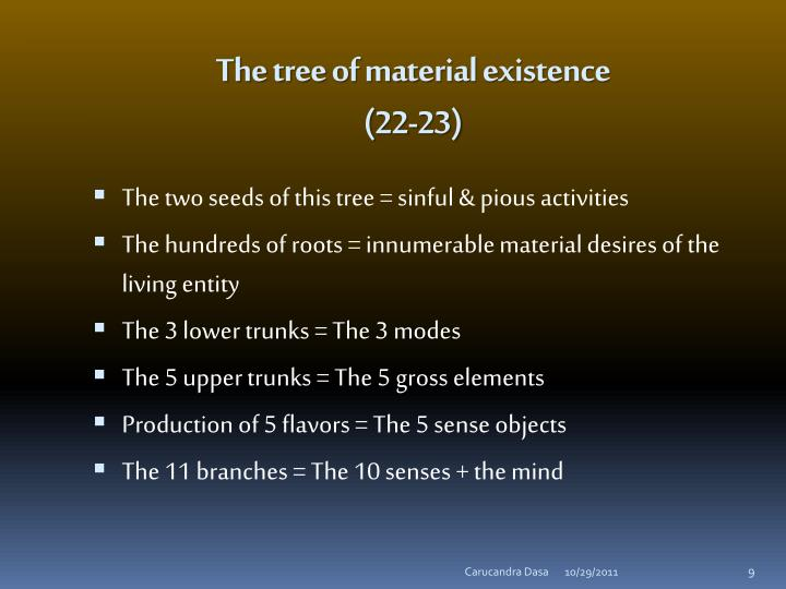 The tree of material existence