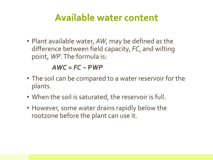 Available water content