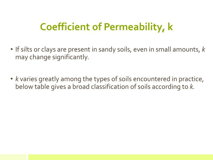 Coefficient of Permeability, k