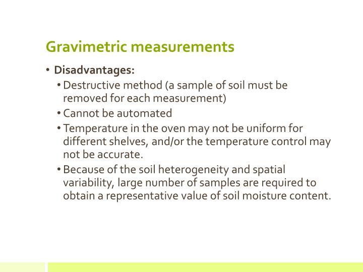 Gravimetric measurements