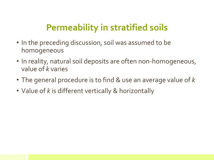 Permeability in stratified soils