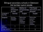 bilingual secondary schools in debrecen k t tan t si nyelv iskol k2