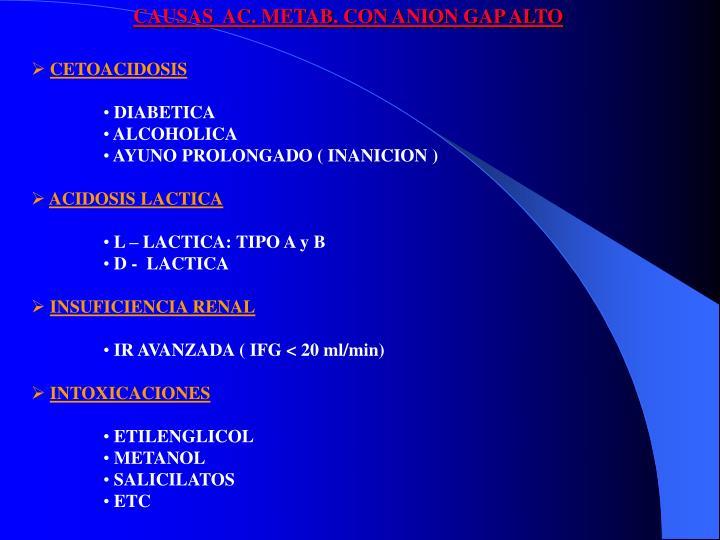 CAUSAS  AC. METAB. CON ANION GAP ALTO