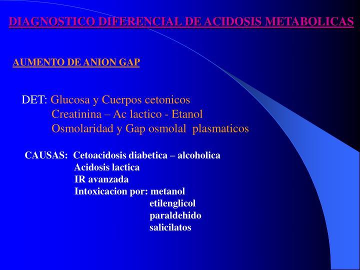 DIAGNOSTICO DIFERENCIAL DE ACIDOSIS METABOLICAS
