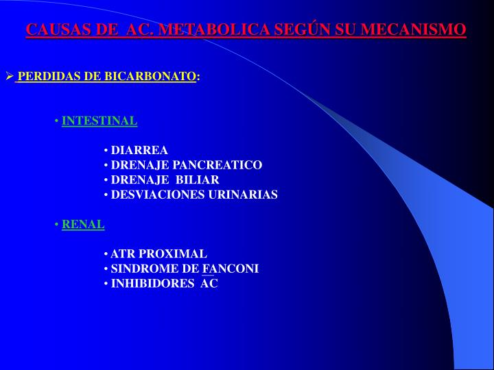 CAUSAS DE  AC. METABOLICA SEGÚN SU MECANISMO