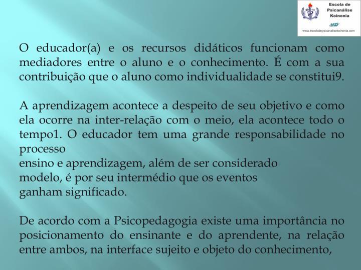 O educador(a) e os recursos didáticos funcionam como mediadores entre o aluno e o conhecimento. É com a sua contribuição que o aluno como individualidade se constitui9.