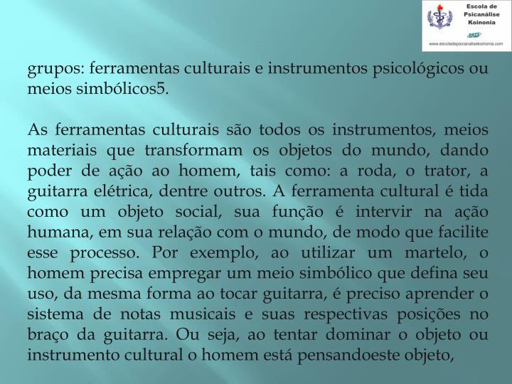 grupos: ferramentas culturais e instrumentos psicológicos ou meios simbólicos5.