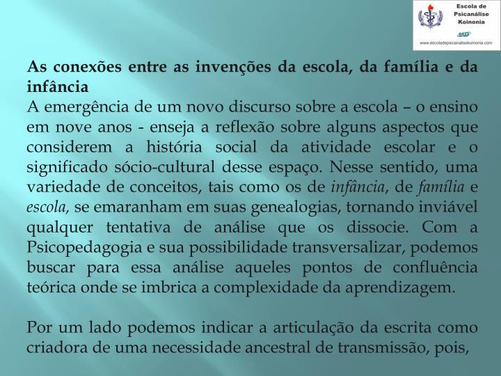 As conexões entre as invenções da escola, da família e da infância