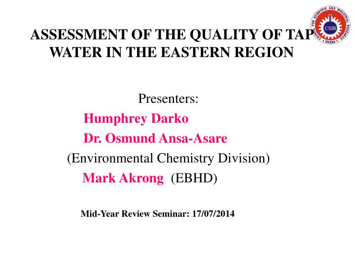 assessment of the quality of tap water in the eastern region n.