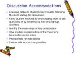 discussion accommodations