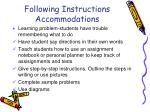 following instructions accommodations