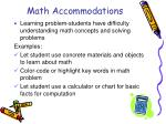 math accommodations