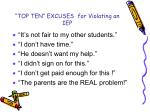top ten excuses for violating an iep