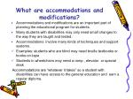 what are accommodations and modifications
