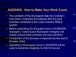 auxdata how to make your work count