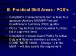 iii practical skill areas pqs s