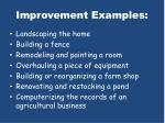 improvement examples