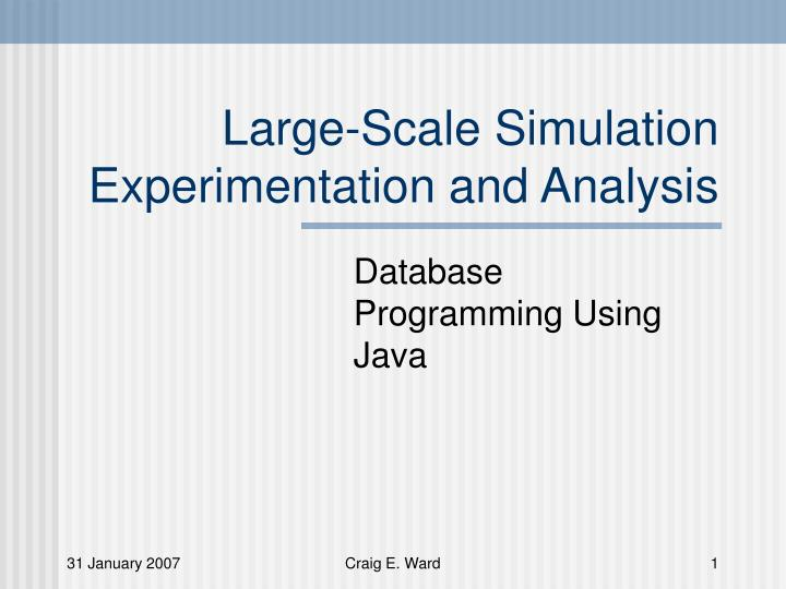 large scale simulation experimentation and analysis n.