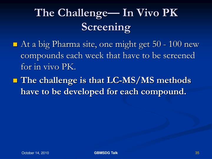 The Challenge— In Vivo PK Screening