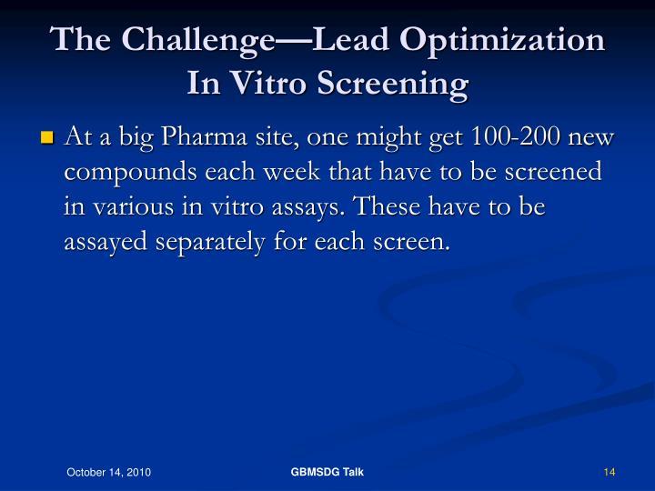 The Challenge—Lead Optimization In Vitro Screening