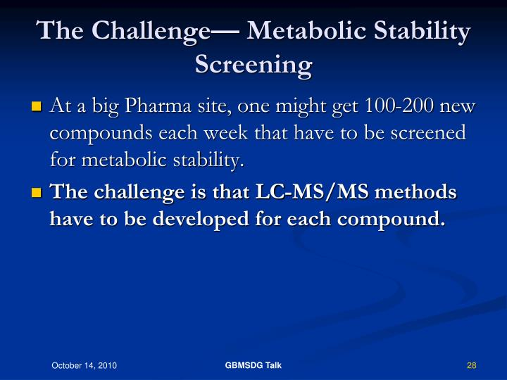 The Challenge— Metabolic Stability Screening