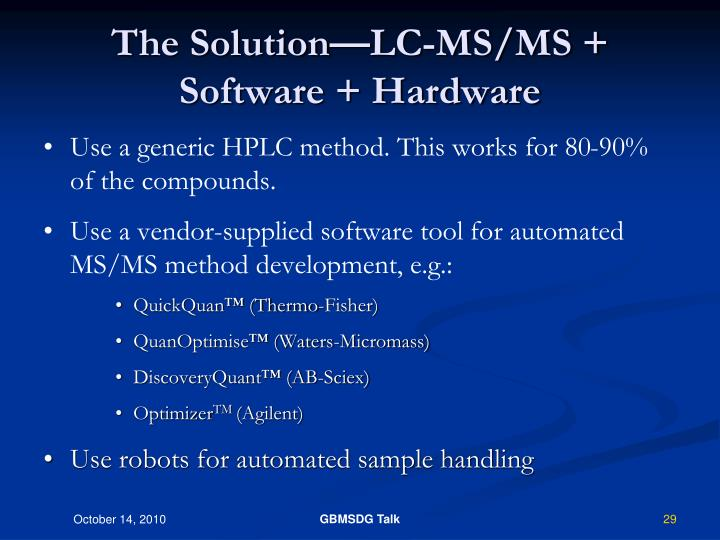 The Solution—LC-MS/MS + Software + Hardware