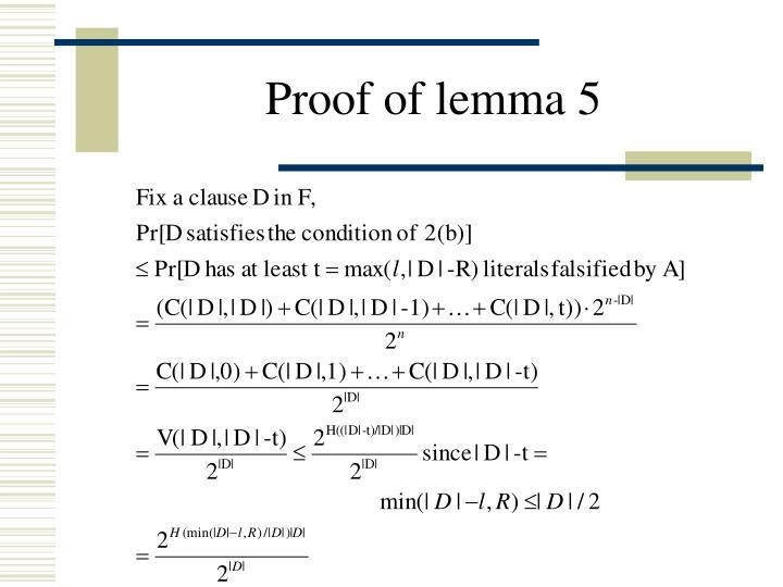 Proof of lemma 5