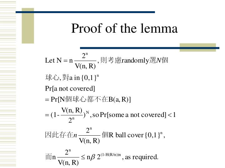 Proof of the lemma