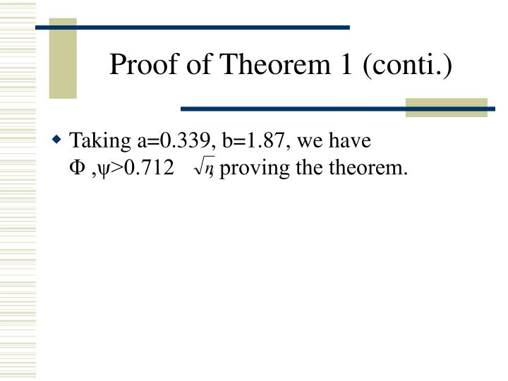 Proof of Theorem 1 (conti.)