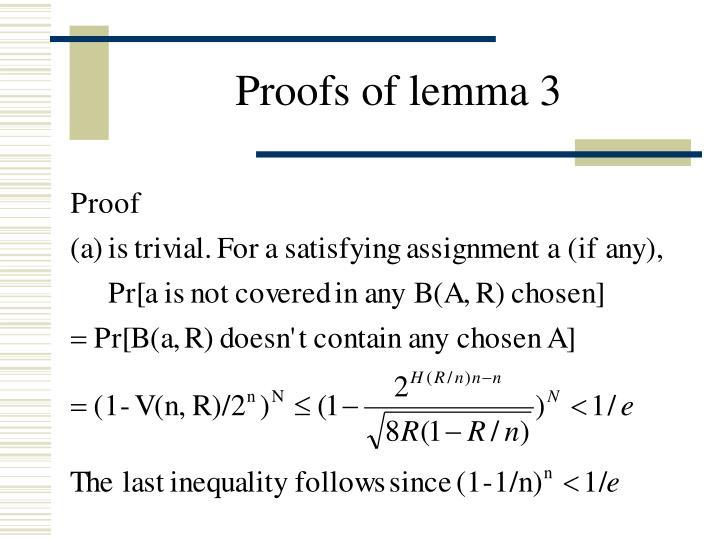 Proofs of lemma 3