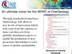 an ultimate vision for the what of onegeology