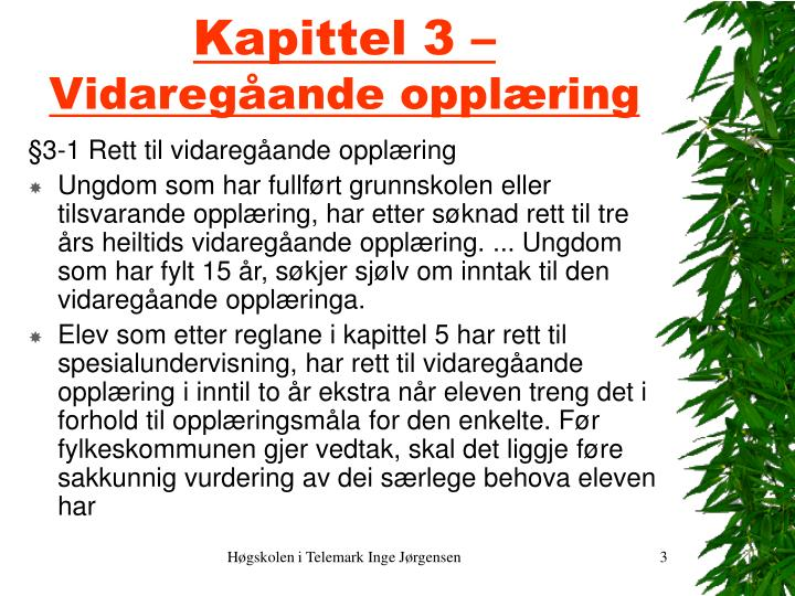 Kapittel 3 vidareg ande oppl ring