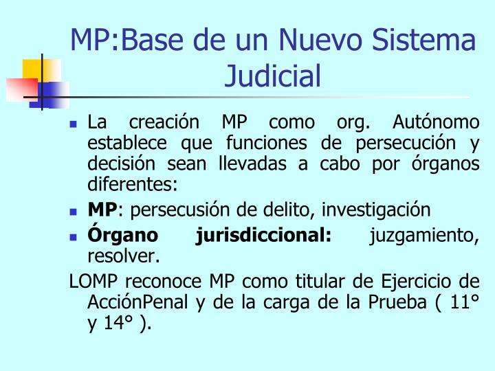 MP:Base de un Nuevo Sistema Judicial