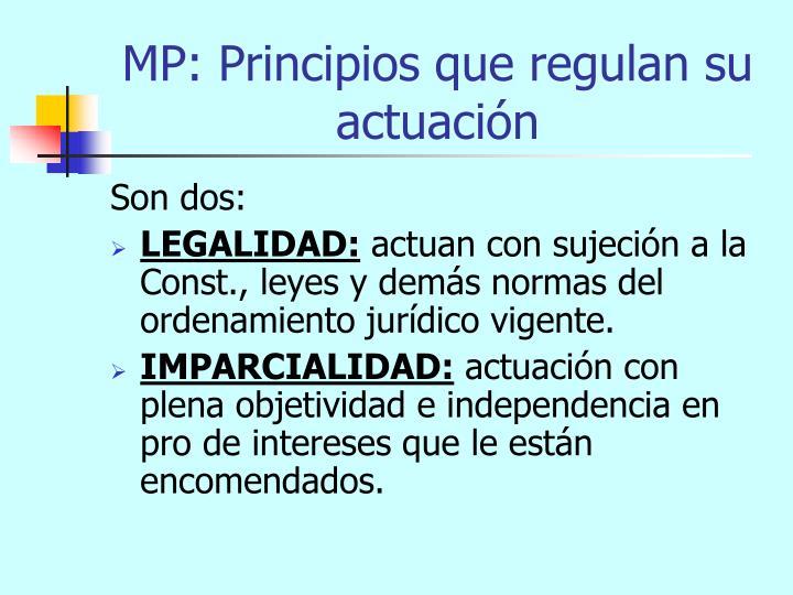 MP: Principios que regulan su actuación