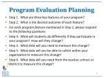 program evaluation planning