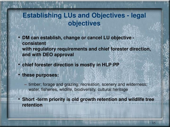 Establishing LUs and Objectives - legal objectives
